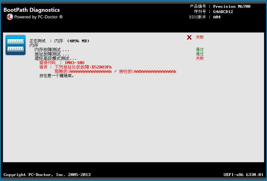 Bootpath Diagnostics - Chinese Memory Test Failure