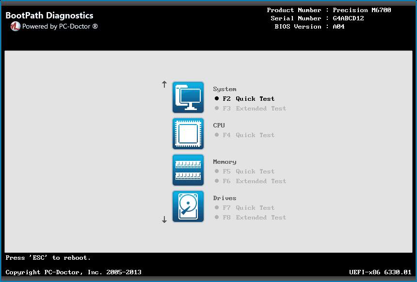 Bootpath Diagnostics Test Menu