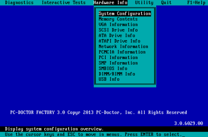 PC-Doctor for DOS - Hardware Information