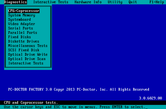 PC-Doctor for DOS - Diagnostic Menu