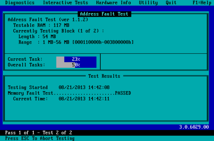 PC-Doctor for DOS - Memory Testing