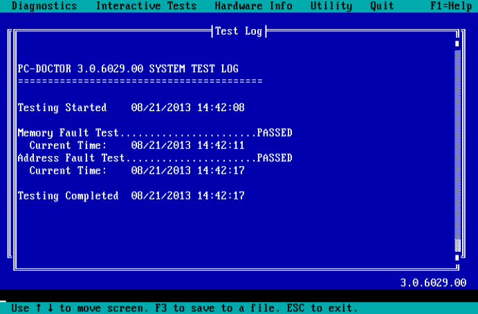 PC-Doctor for DOS - Test Log