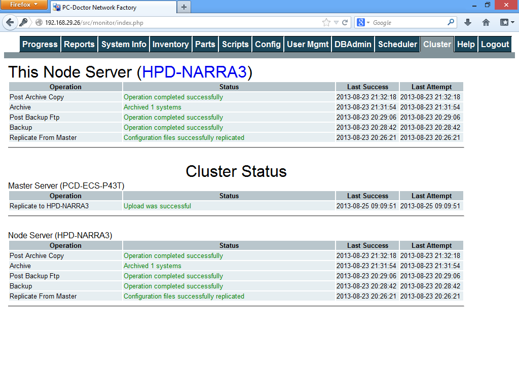 Network Factory Server Cluster Management