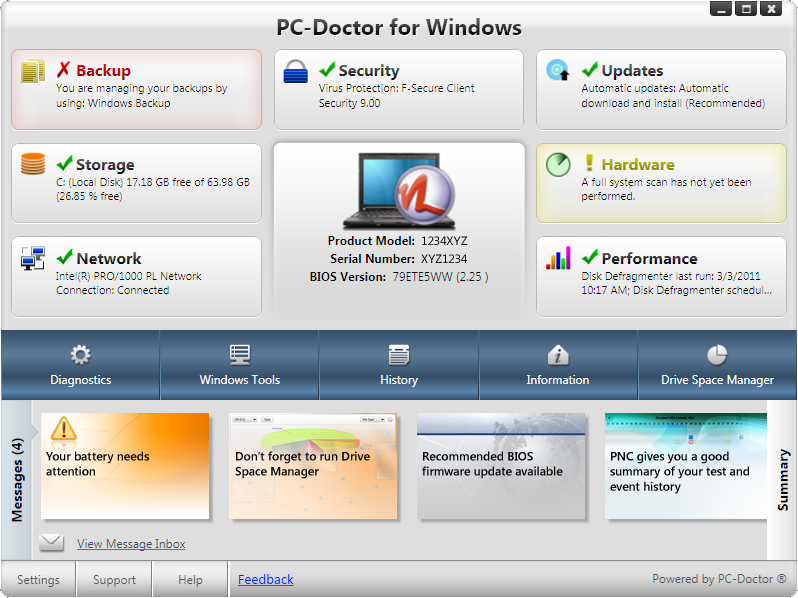 PC-Doctor for Windows - Dashboard